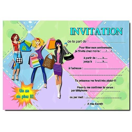 Cartes Invitation Anniversaire Fille Par 12 Avec Enveloppes