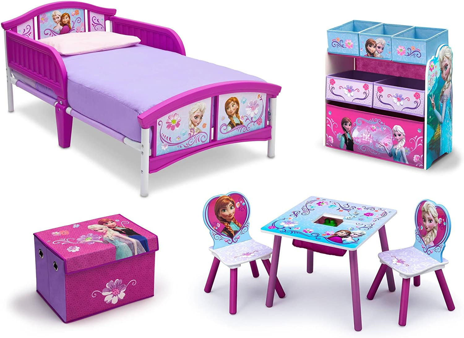Frozen Bedroom Decor Toddler Kids Bed Disney Frozen Movie Princess Toy Chair Set Girls Toy Chest Storage Amazon Ca Home Kitchen