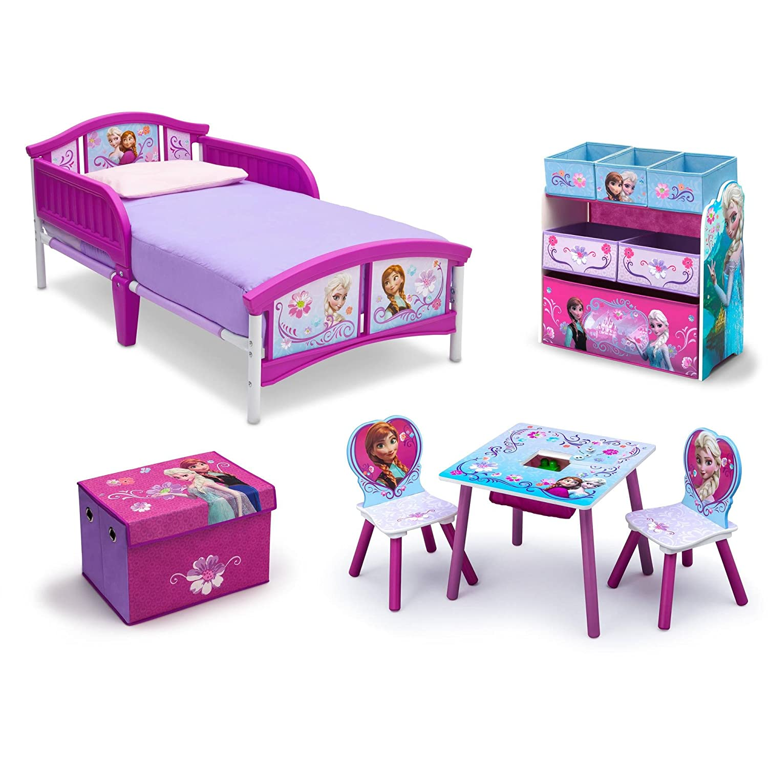 Amazon.com   Frozen Bedroom Decor Toddler Kids Bed Disney Frozen Movie  Princess Toy Chair Set Girls Toy Chest Storage