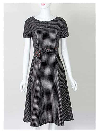 bb36c507032b Amazon.com  George Gouge New Summer Dress Polka Dot Vintage Dress Short  Sleeve Sexy Women Midi Dress Casual Party Dresses Plus Size  Clothing
