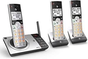 AT&T CL82307 DECT 6.0 Expandable Cordless Phone with Answering System & Smart Call Blocker, Silver/Black with 3 Handsets (Renewed)