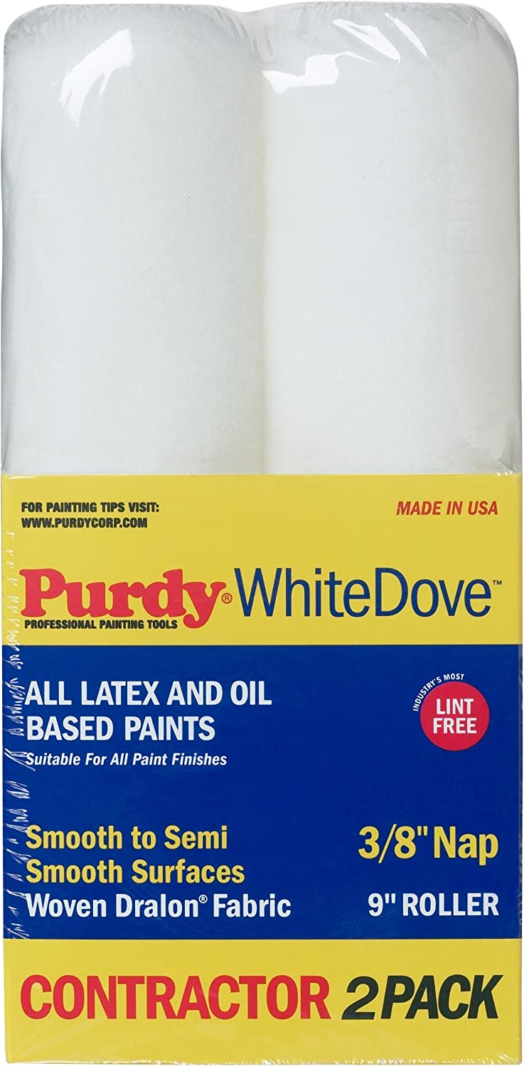 Purdy 14C863300 White Dove Roller Cover, 2 pack, 9 inch x 3/8 inch nap (Renewed)