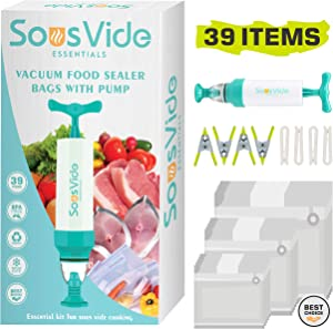 Sous Vide Essentials - Sous Vide bags 30 Reusable food vacuum sealer bags BPA-Free Ziplock for Anova and Joule Cook,1 Hand Pump, 4 Sealing Clips and 4 Sous Vide Clips, Apply for Sous vide Cooking and Food Storage/Freezer