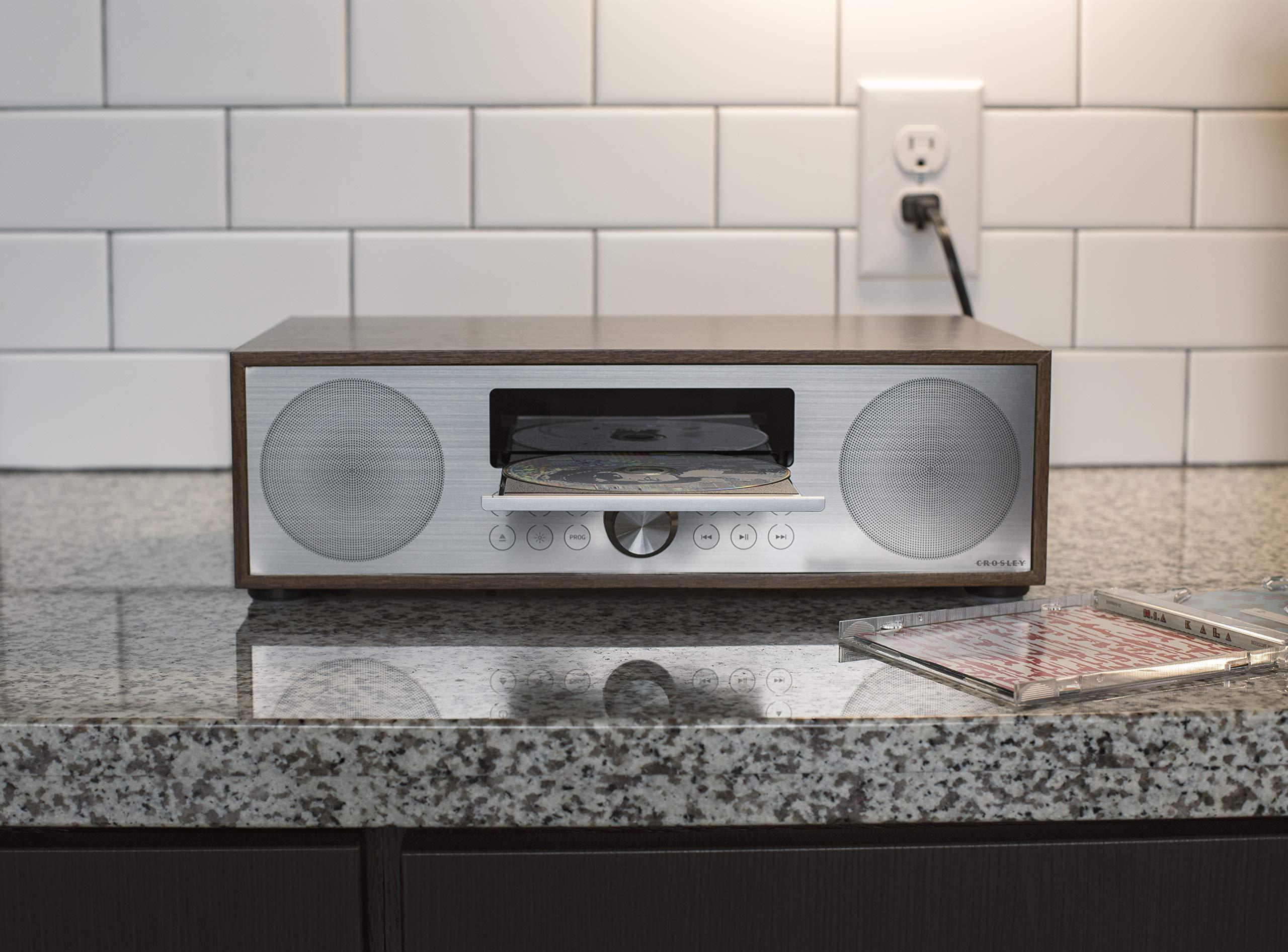 Crosley CR3501A-WA Fleetwood Bluetooth FM Clock Radio and CD Player, Walnut by Crosley (Image #7)