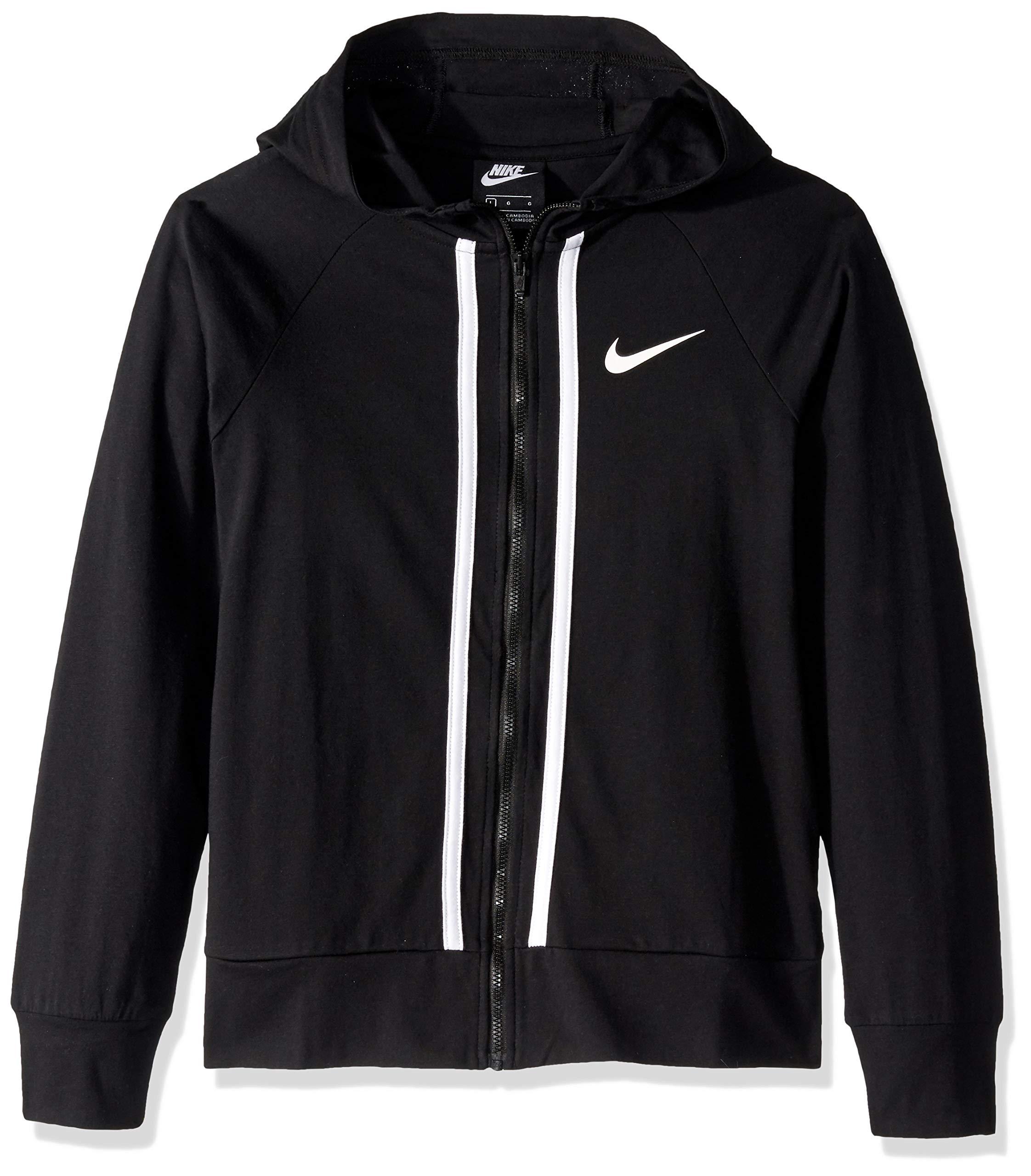 Nike Girl's NSW Full-Zip Jersey, Black/White, Large by Nike