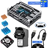 For Raspberry Pi 3 B+ Case with Cooling Fan, 3pcs Heatsinks, 5V/2.5A Power Suply with Micro USB ON/OFF Switch, Screws and Screwdriver, 9 Layers Acrylic Case Black & Clear (Widely compatible For Raspberry Pi 2B/3B/3B+, not include Raspberry Pi board)