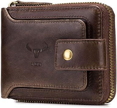 RFID Men/'s Leather Zipper wallet Zip Around Wallet Bifold with Multi Card Holder