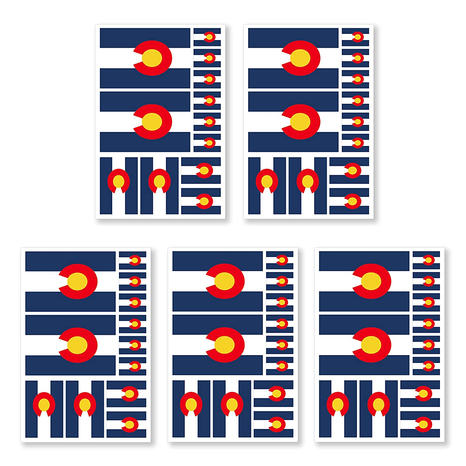 JBCD 5 Pcs Colorado Flag Tattoos CO Flag Stickers Face Tattoos, State Tattoos Temporary Decorations Suitable for Sports Event and Party