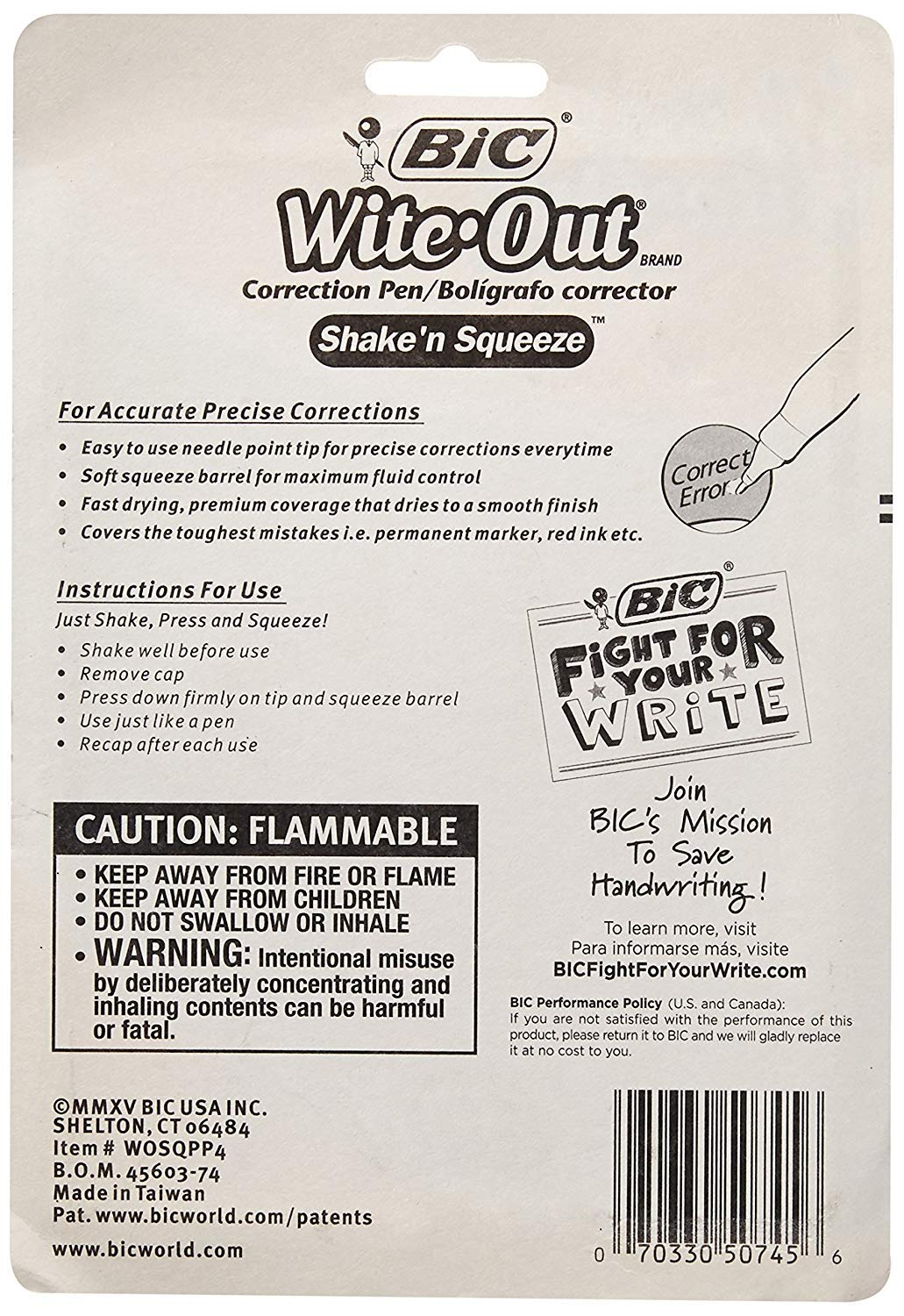 BIC Wite-Out Shake 'n Squeeze Correction Pen, 8 ml, White, 2 Pack by BIC (Image #2)