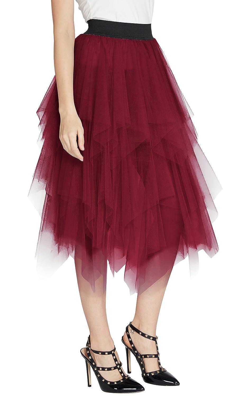 Urban GoCo Donna Retro Tutu Gonna in Tulle Elastico Stile Rockabilly Gonne a Pieghe Petticoat