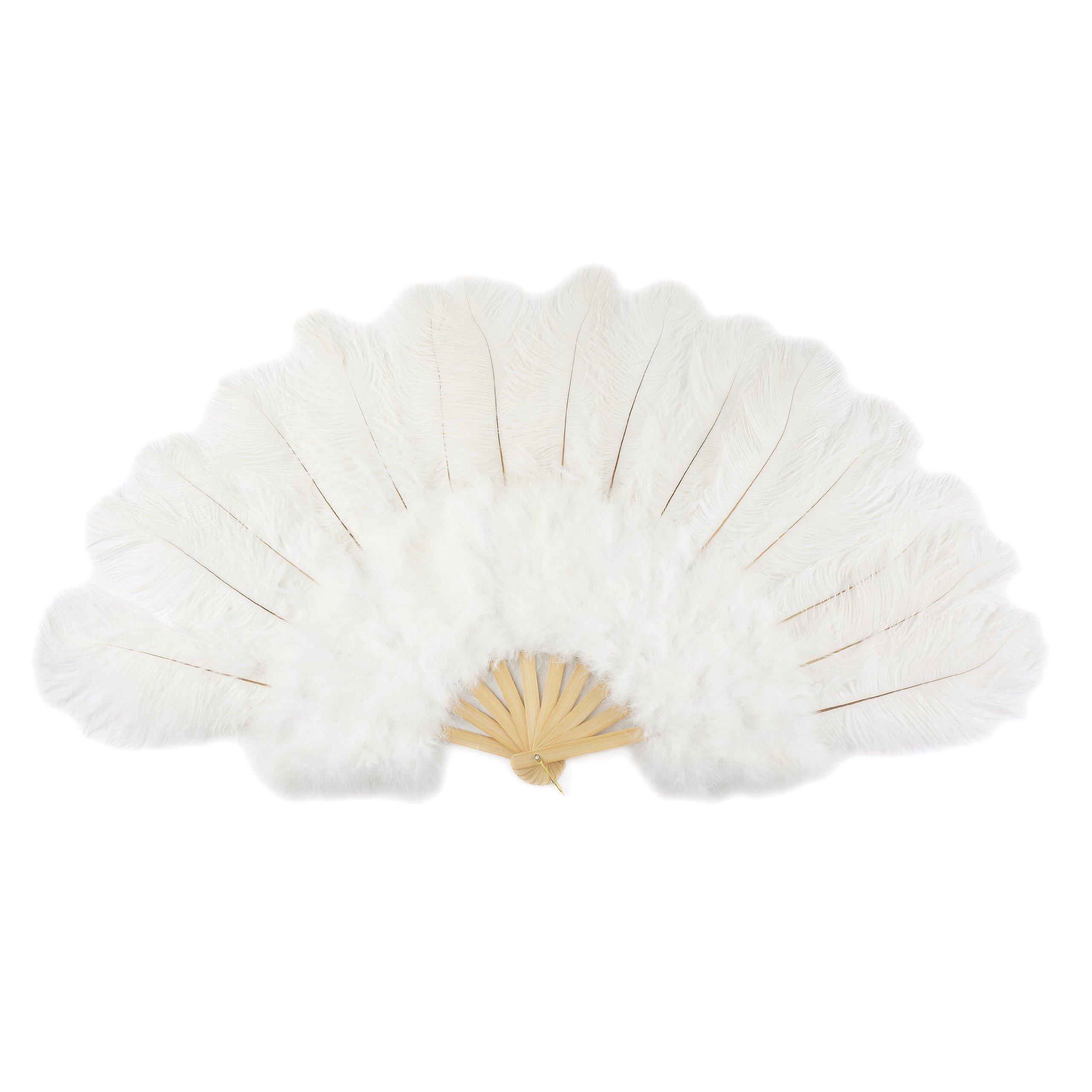 Large Ostrich Feather Hand Fan - White Flapper Folding Fan Dance Wedding Accessory