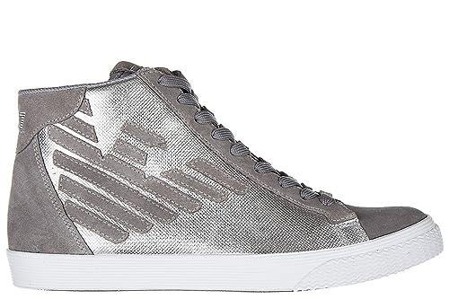 Emporio Armani EA7 Scarpe Sneakers Alte Uomo in camoscio Nuove Pride Metal  Argento EU 42 248009 7A299 00017  Amazon.it  Scarpe e borse d49fa51ebc5