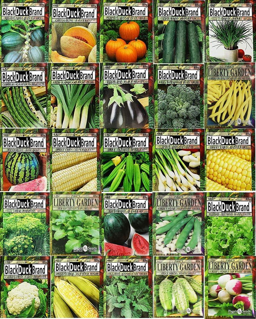 Set of 25 Premium Vegetable & Herb Seeds - 25 Deluxe Variety Premium Vegetable & Herb Garden 100% Non-GMO Heirloom