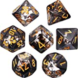 Polyhedral 7-Die Dice Set for Dungeons and Dragons with Black Pouch (Transparent Black)