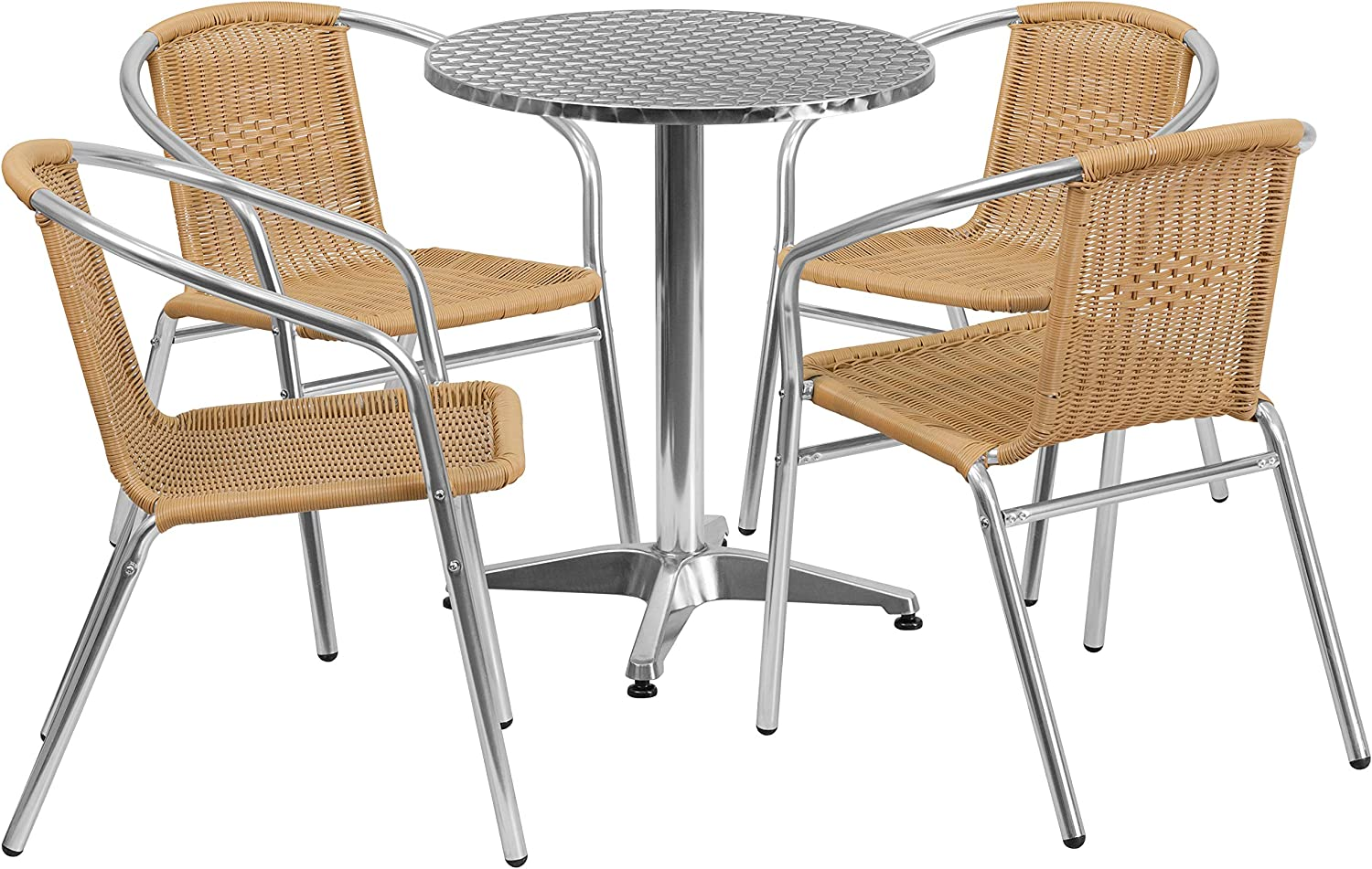 Flash Furniture 23.5 Round Aluminum Indoor-Outdoor Table Set with 4 Beige Rattan Chairs