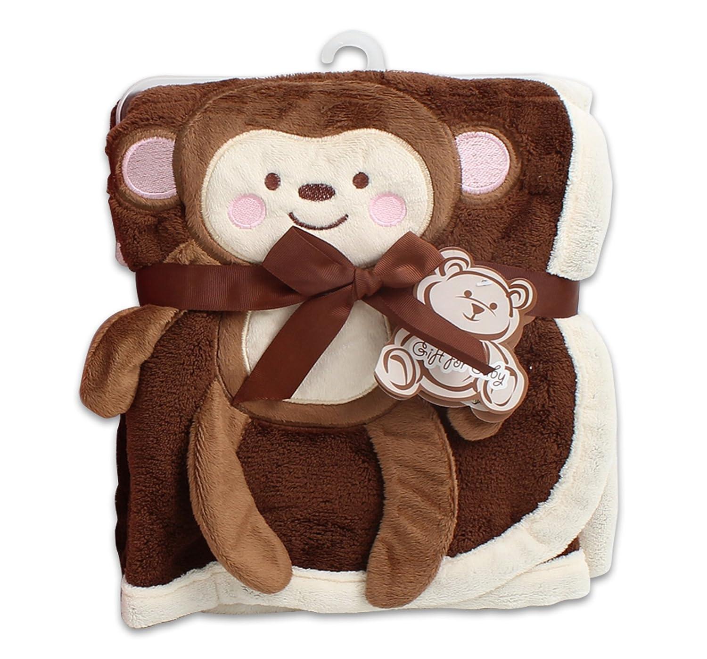 """30/"""" x 40/"""" Brown Plush 2 Ply PV Baby Boys Blanket 3D Monkey"""