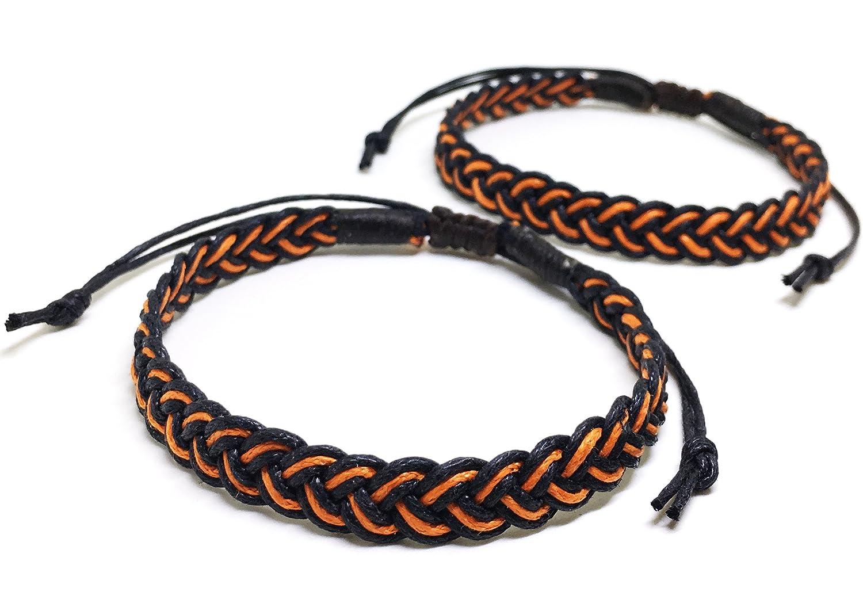 2 Piece Unique Asian Handmade Plait Bracelet Fashion Black Orange Cotton String
