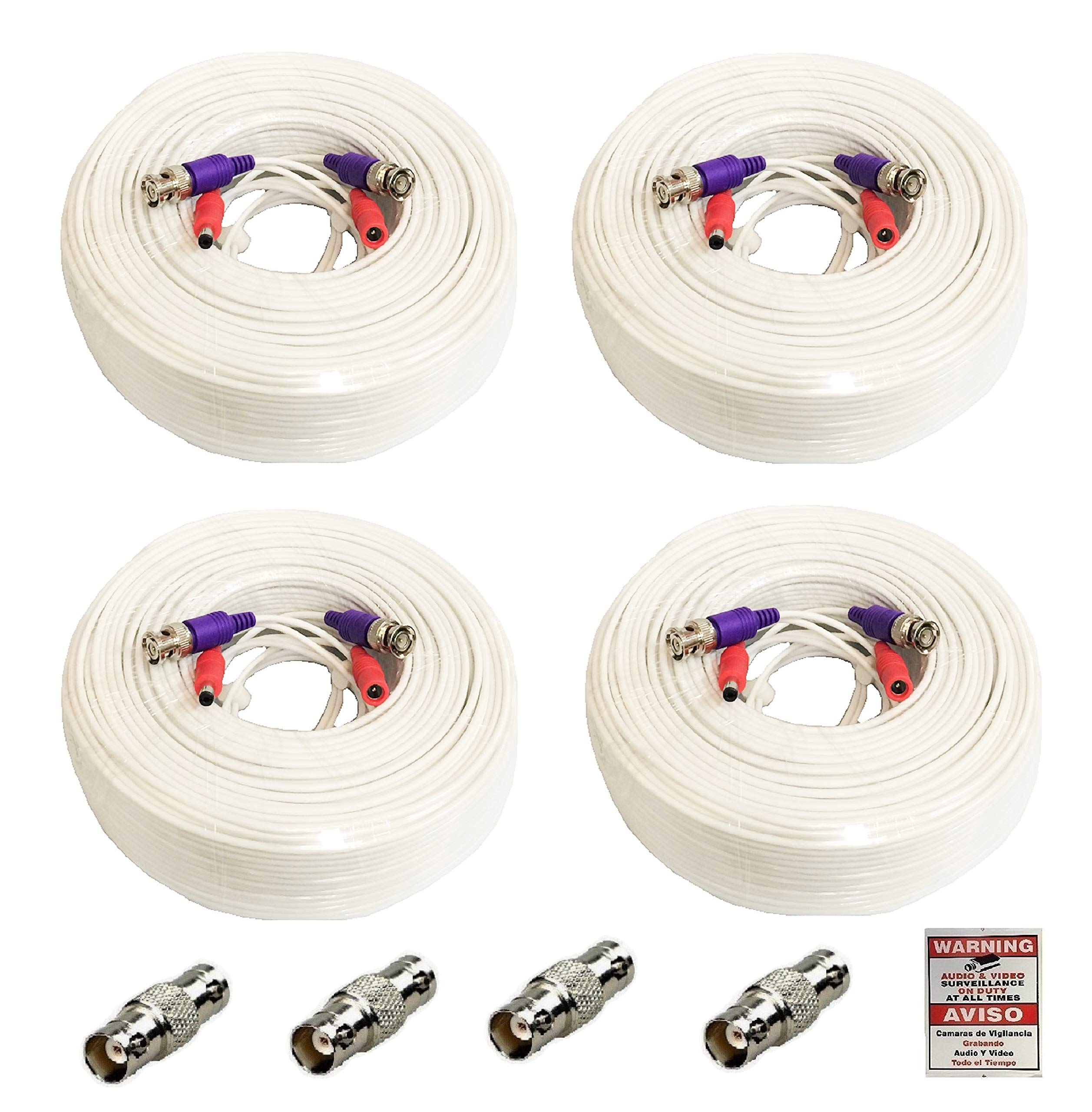 WennoW 4 Pack 100 Feet All-in-One Siamese 4K 8MP BNC Video & Power Extension Cable for All HD CCTV Security Cameras DVR System WT