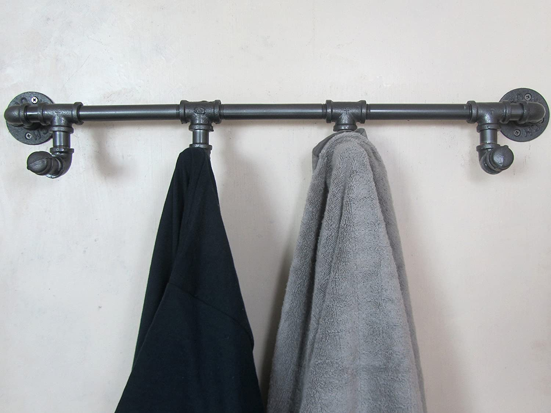 Industrial Retro Urban Rustic Iron Pipe Wall Mounted Towel Hook Rail Coat Rack Home Bedroom Restroom Bathroom Decor CHANNELMAY