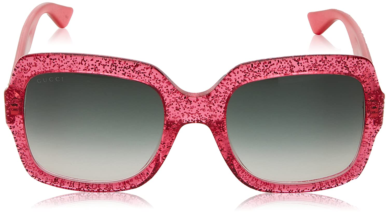 b91b3d8d3d Amazon.com  Gucci GG0036S 007 (Glitter Pink fuschia fuchsia with Grey  Gradient with Mirror effect lenses)  Clothing