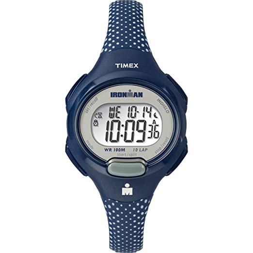 Timex Mujer tw5 m16700 Ironman Esencial 10 Azul/Blanco Lunares Correa de Resina Reloj: Timex: Amazon.es: Relojes