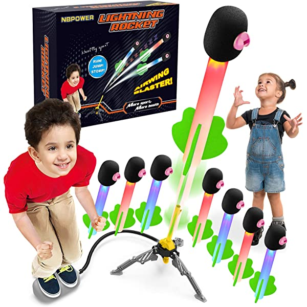 Outdoor Rocket Toy Gift for Boys and Girls Ages 3 Years and Up Light Up Rocket Launchers Gifts for Kids,Soars Up to 100 Feet NBPOWER 8 Pack Flashing Jmup Rocket