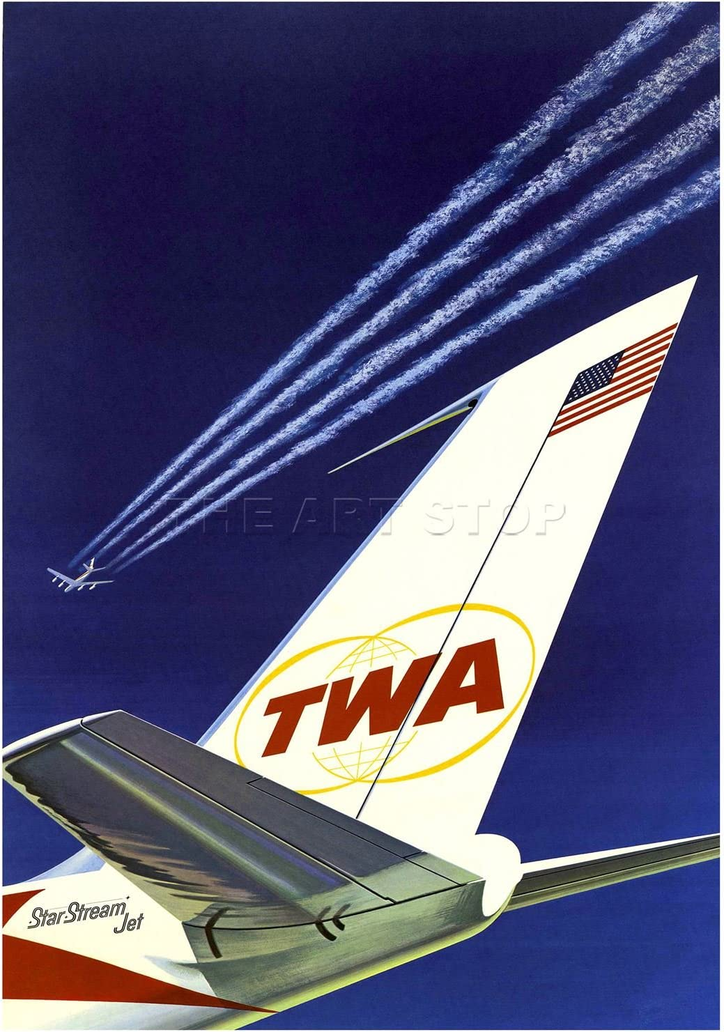 TWA AIRLINE STARS STRIPES AIRPLANE AEROPLANE VINTAGE ADVERT ART PRINT B12X582