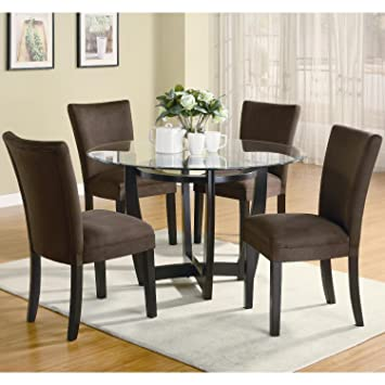 Modern 48 Inch Round Glass Top Dining Set By Coaster