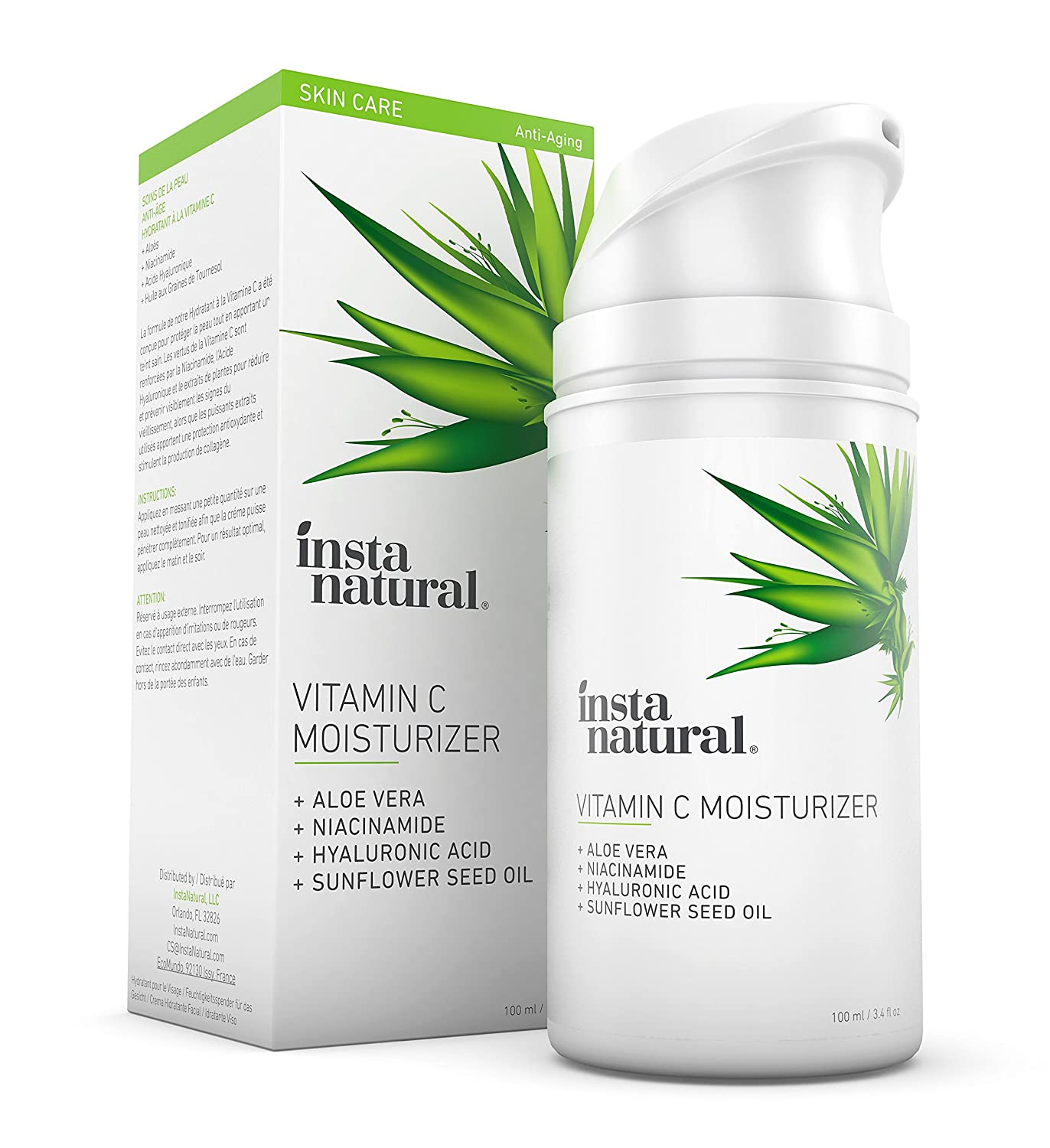 InstaNatural Vitamin C Moisturizer Cream - Facial Anti Aging & Wrinkle Reducing Lotion for Men & Women - With Hyaluronic Acid & Organic Jojoba Oil - Hydrating for Dry, Sensitive, Oily Skin - 3.4 OZ