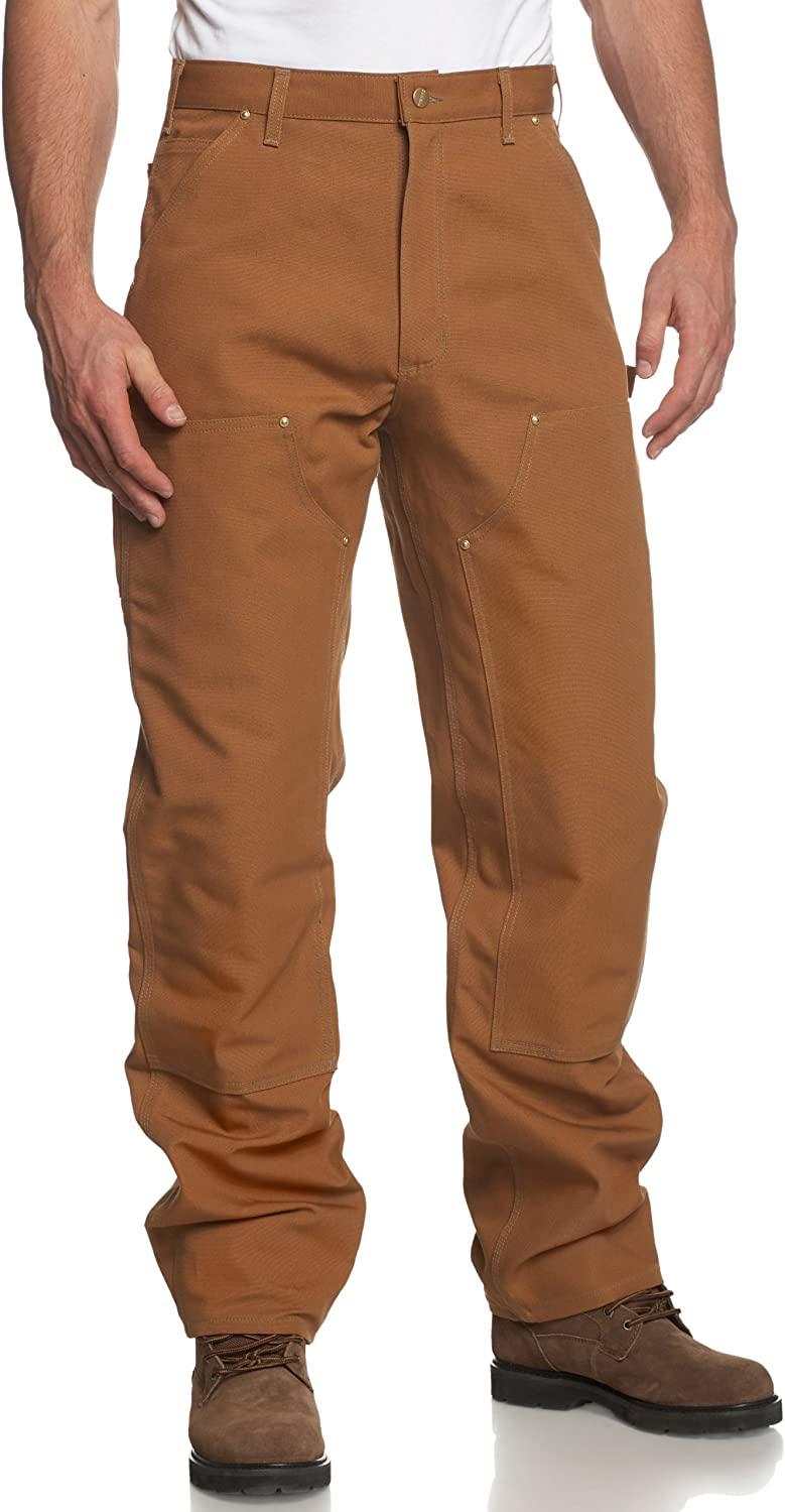 Carhartt Men's Firm Duck Double-Front Work Dungaree Pant B01: Work Utility Pants: Clothing