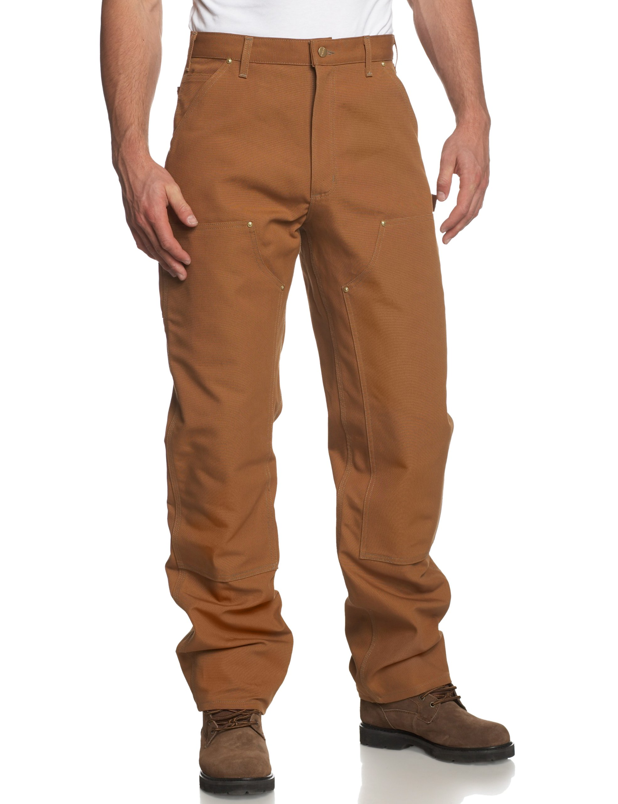 Carhartt Men's Firm Duck Double- Front Work Dungaree Pant B01,Carhartt Brown,28W x 34L