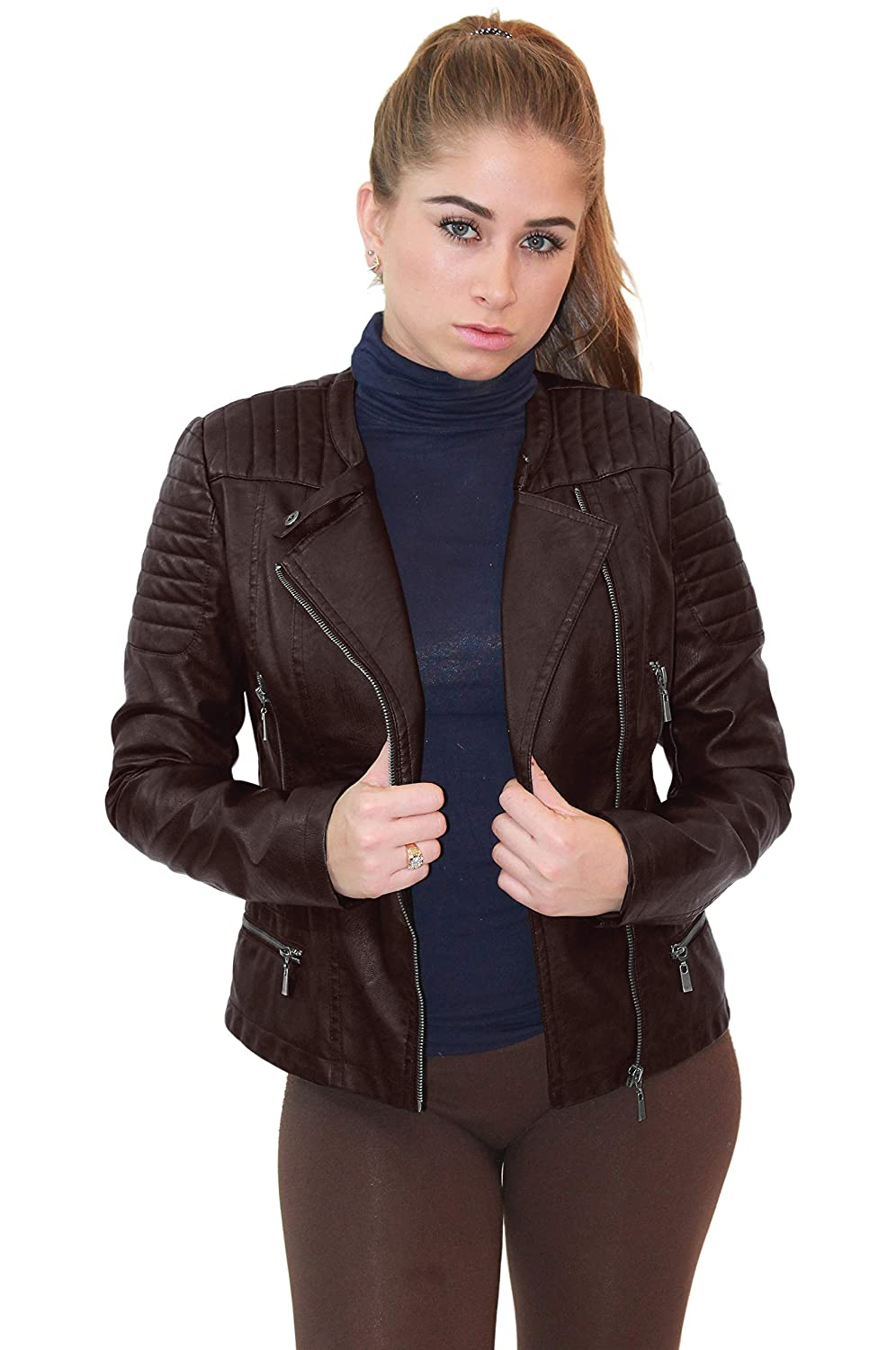 cd8498de2f8d Olivia Miller Womens Faux Leather Moto Biker Jacket with Pockets at ...