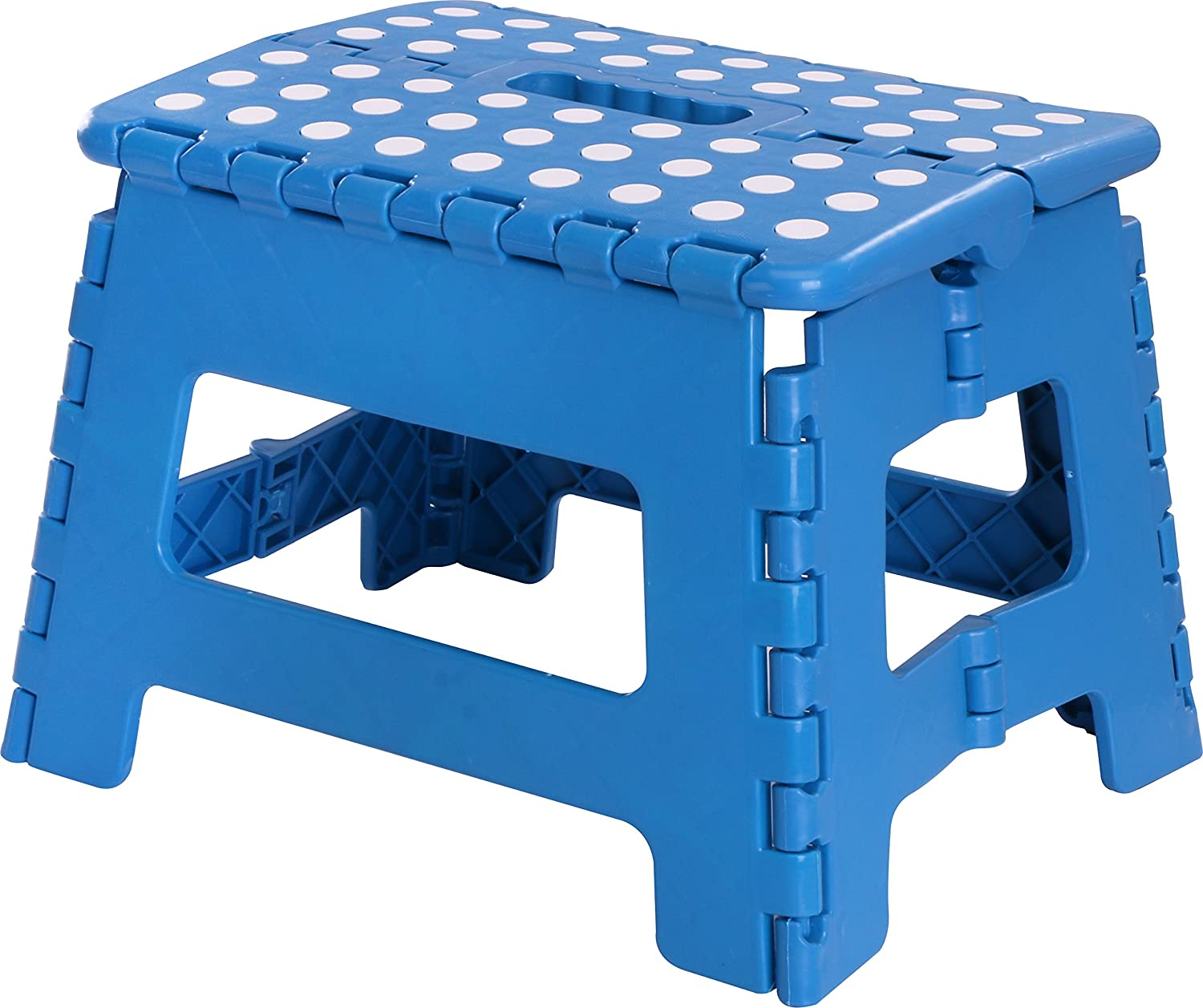 Utopia Home Foldable Step Stool for Kids - 11 Inches Wide and 9 Inches Tall - Blue and White - Holds Up to 300 lbs - Lightweight Plastic Design