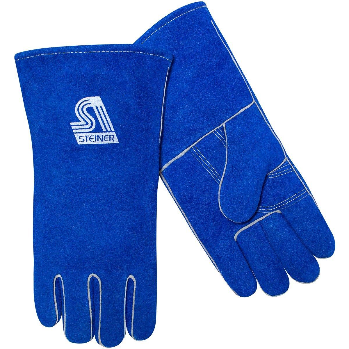 Steiner 02509F-M ThermoCore Foam Lined Shoulder Split Cowhide Stick Welding Gloves Medium Blue