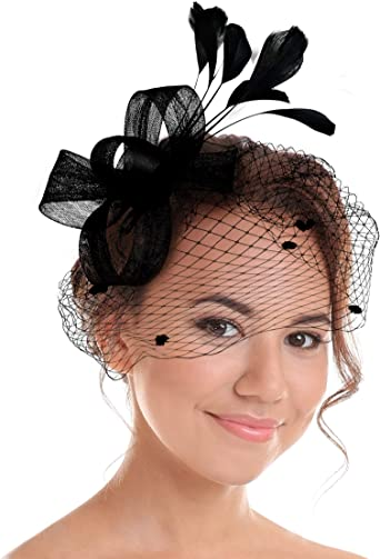 Funbase Women Sinamay Fascinator Headband Blossom Flower Hair Clip Derby Party Headwear