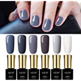 Gray Colors Gel Nail Polish Set UV LED Azure Beauty Nude Colors Gel Polish 6pcs