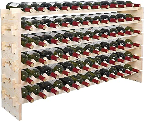 LEMY Solid Wood Wine Rack Stackable Modular Storage Stand Wooden Wine Holder Display Shelves Wobble-Free,6×12 Row 72 Bottle