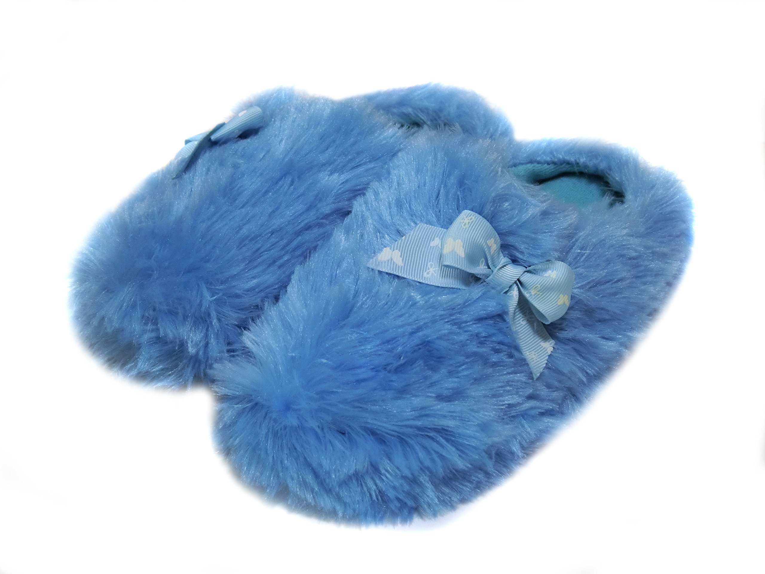 Onmygogo Girls Fuzzy Winter Indoor Slippers with Printed Ribbon (US Kid Size 3-4, Blue)