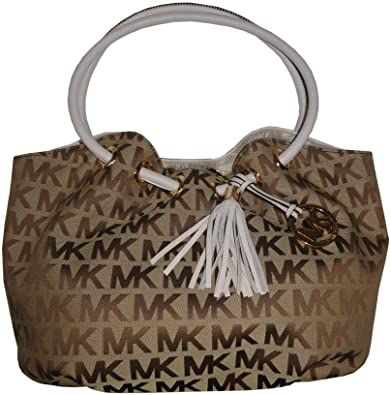 f326c2ee2b27 Michael Kors Medium East West Ring Tote in Signature in Beige, Ebony &  Vanilla. Roll over image to zoom in