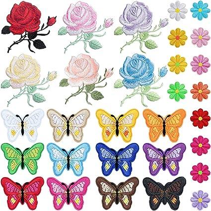 Amazon.com: PGMJ - Parches bordados de flores de rosas ...