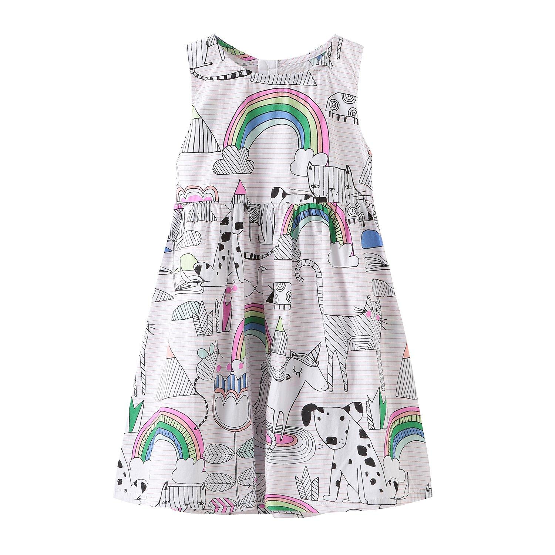 HowJoJo Girls Sleeveless Dresses Cute Cartoon Summer Skirt Dress 4T