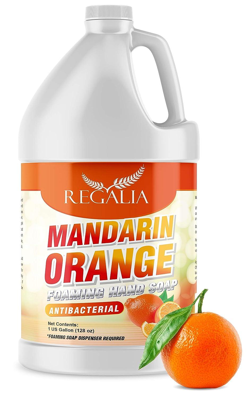 Foaming Antibacterial Hand Soap: Mandarin Orange Scented Refill 1 Gallon (128 oz) Bulk Hand Wash