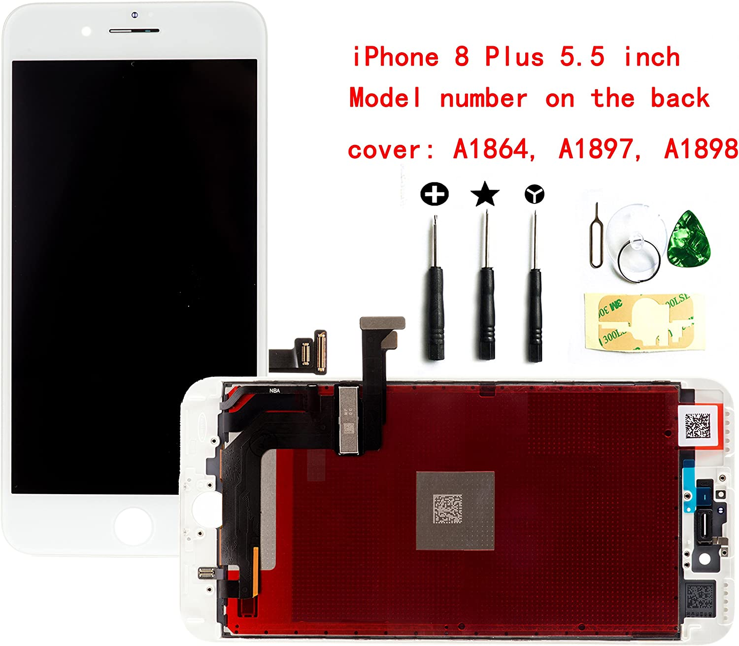 White For iPhone 8 Plus 5.5 Inch LCD Screen Replacement Full Digitizer Assembly Frame Set Front Glass 3D Touch Display Required Tool Kit