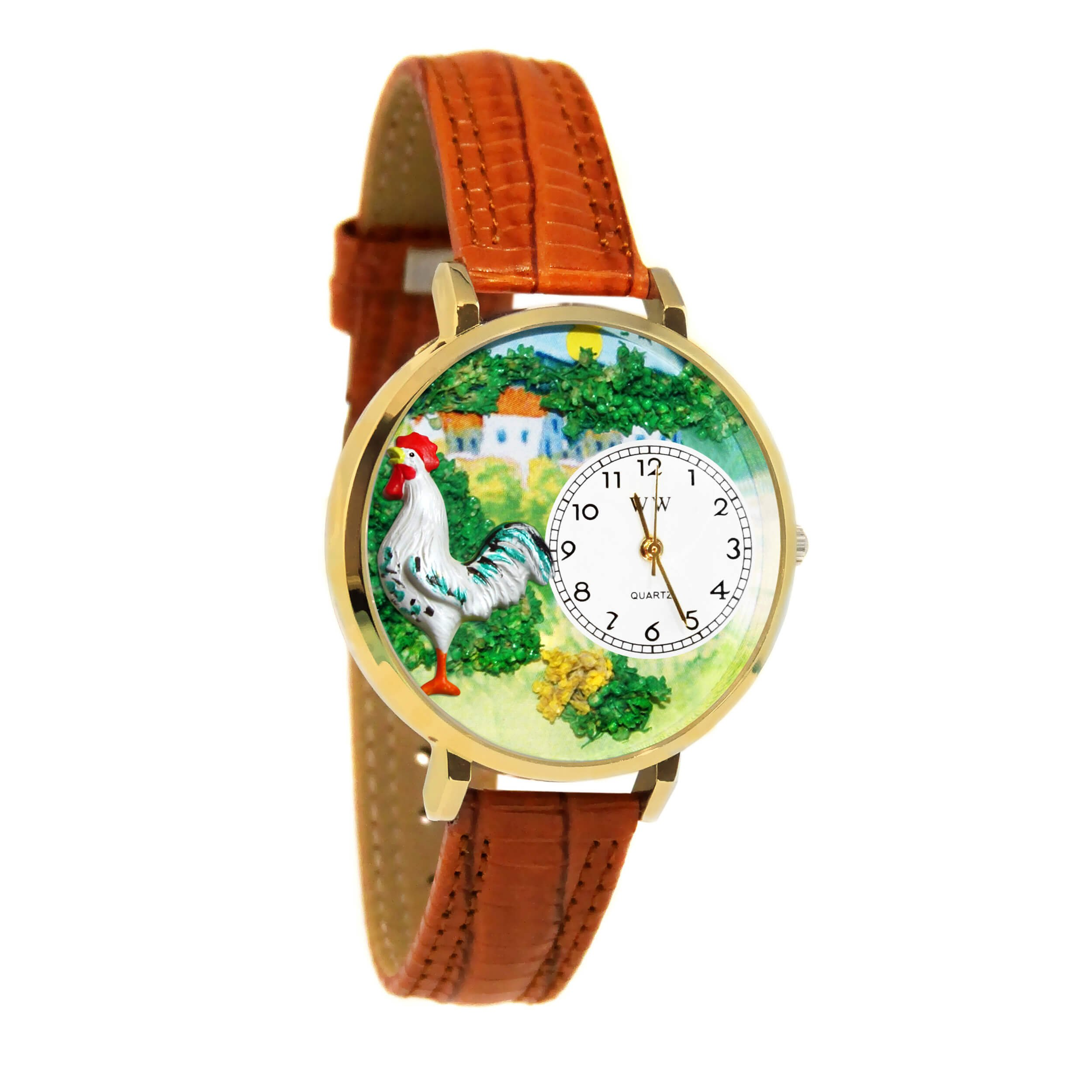 Whimsical Watches Unisex G-0110001 Rooster Tan Leather Watch