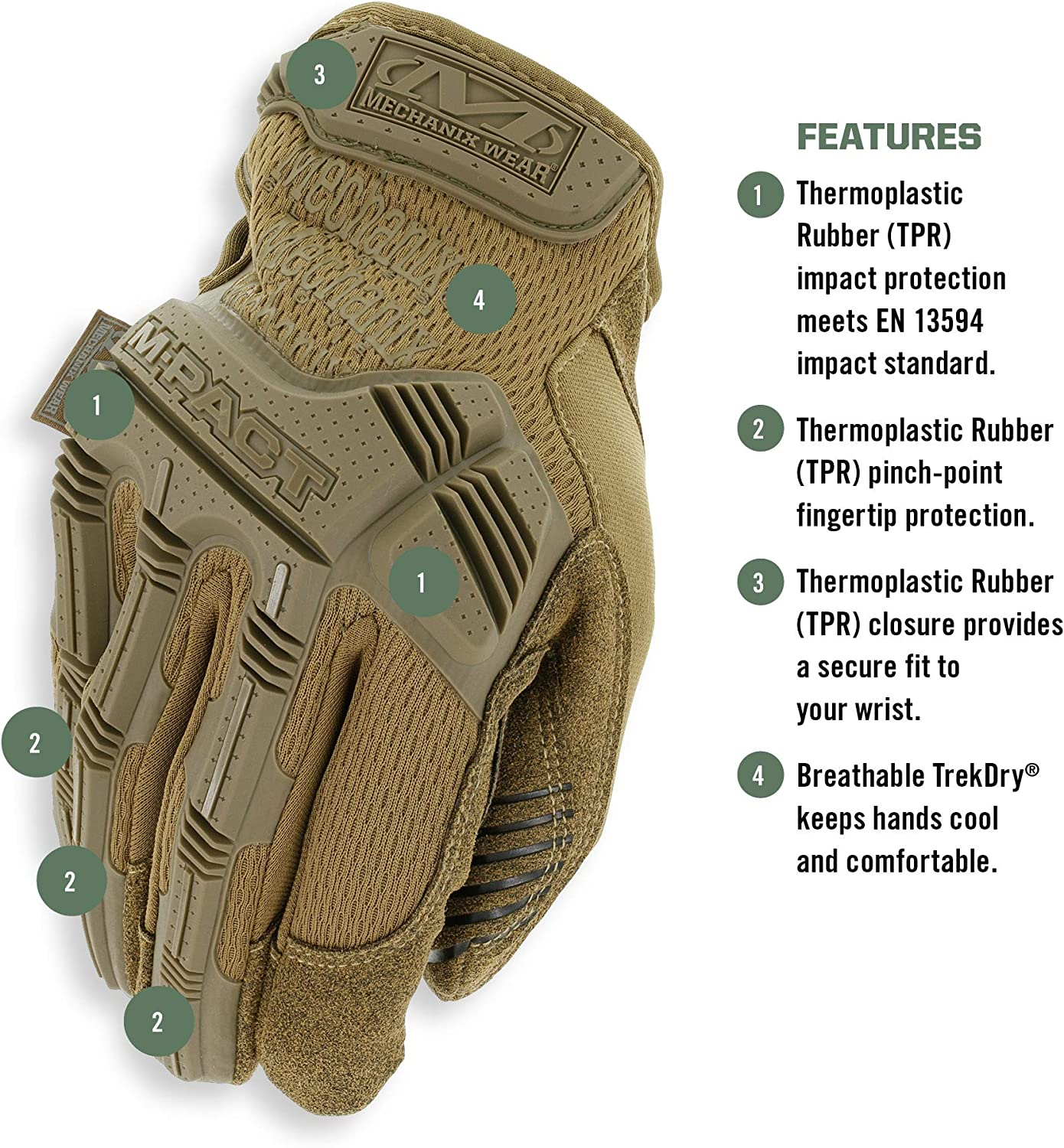 Mechanix Wear M-Pact Fitted TrekDry Protective Gloves Multicam Small
