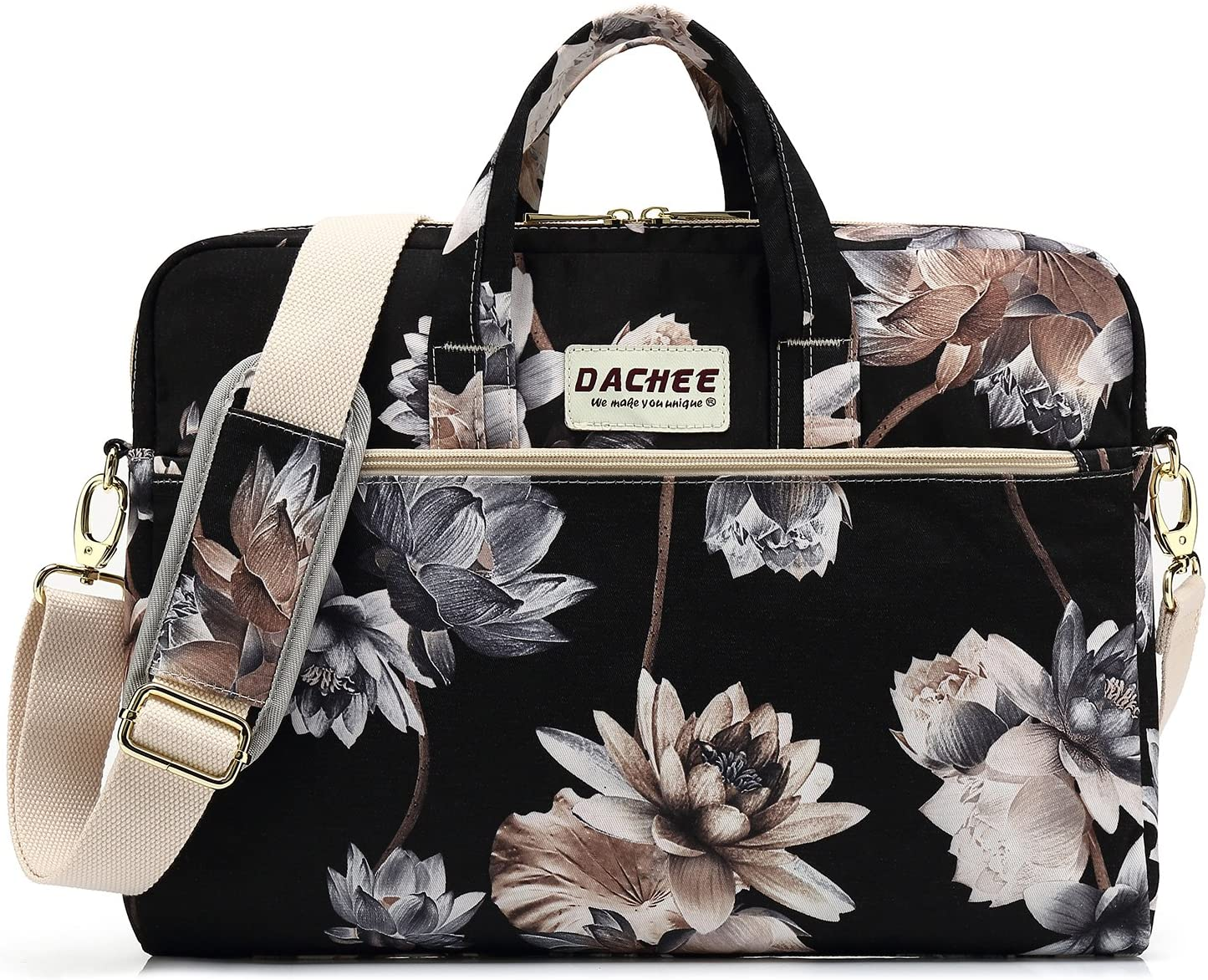 DACHEE Black Lotus Pattern 15 inch Waterproof Laptop Shoulder Messenger Bag for 14 Inch to15.6 inch Laptop and Macbook Pro 15 laptop Case