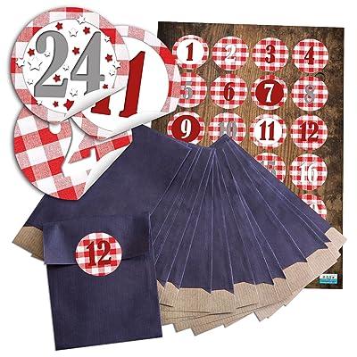 48 Sachets de Noël bleue (9,5 x 14 cm) et 48 autocollants 4 cm ronde rouge blanc à carreaux chiffres de 1 à 24 pour calendrier de l'avent Tolle soi-même bricolage; Qualité 1 A.: Oficina y papelería