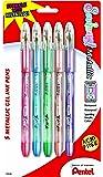 Pentel Sunburst Metallic Gel Pen, Medium Line, Permanent, Assorted Ink, 5 Pack (K908MBP5M1)