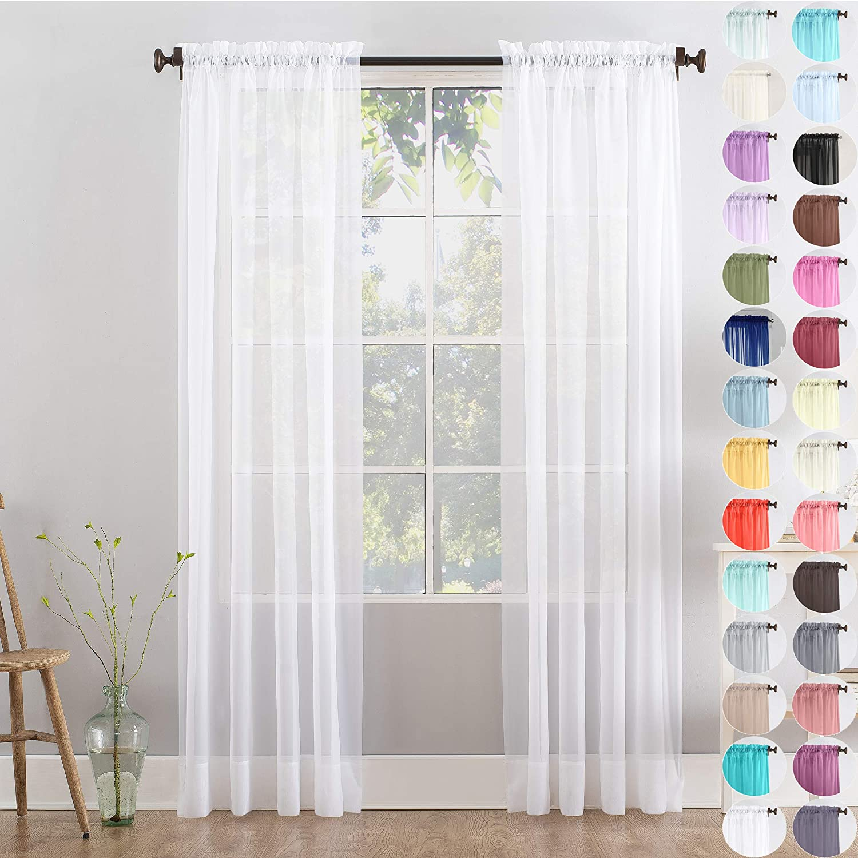 """Megachest Woven Voile Slot Top Curtain 2 Panels (28 colors) (pure white, 56"""" wideX90 drop(W142cmXH228.5cm)) Pure White 56""""wideX90""""drop(W142cmXH228.5cm)"""