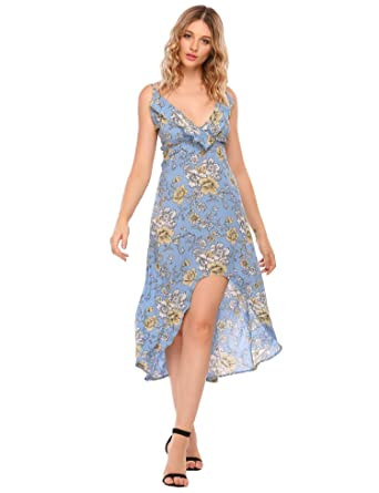 d11e5c59aa Zeagoo Women s Boho Spaghetti Strap High Split Floral Print Maxi Beach Dress